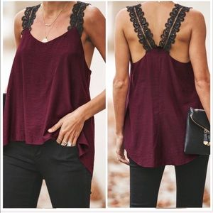 Tops - NEW‼️MAROON BLACK LACE TANK CAMISOLE- Cami top